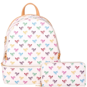 BE2-7285W Monogram Print Classy Backpack Wallet SET White