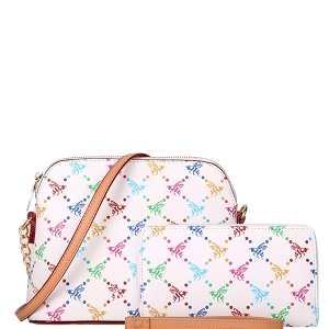 BE3-8232W Multi-Colored Monogram Dome-Shaped Cross Body Wallet SET White