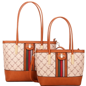 BE4-8567 Pearl Bee Charm Monogram 2 in 1 Twin Tote SET Brown