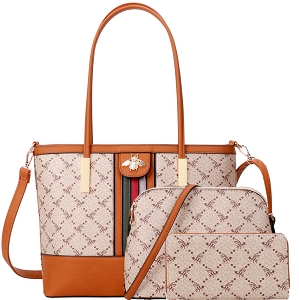 BE4-8580W Rhinestone Bee Monogram Striped 3 in 1 Tote Set Brown