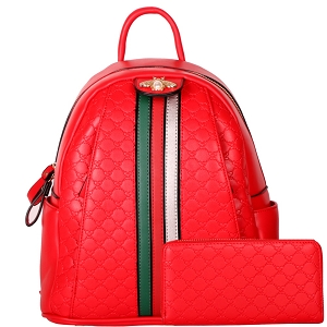 CR8081W Pearl Bee Accent Striped Monogram Backpack Wallet SET Red