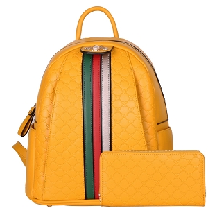 CR8081W Pearl Bee Accent Striped Monogram Backpack Wallet SET Yellow