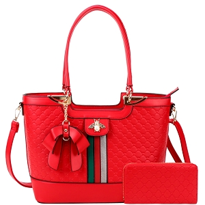 CR8581W Color Block Rhinestone Bee Bow Tote Wallet SET Red