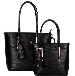 HL6817 Tassel Accent Classy Textured Work Tote 2 in 1 SET Black