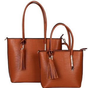 HL6817 Tassel Accent Classy Textured Work Tote 2 in 1 SET Brown