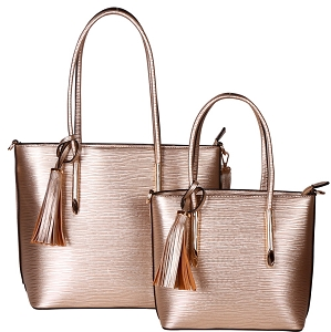 HL6817 Tassel Accent Classy Textured Work Tote 2 in 1 SET Gold