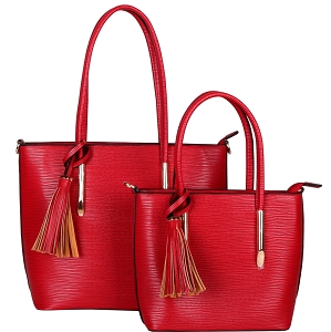 HL6817 Tassel Accent Classy Textured Work Tote 2 in 1 SET Red
