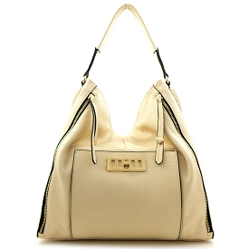 JH2074 Zipper Accent Single Strap Hobo Bag Beige
