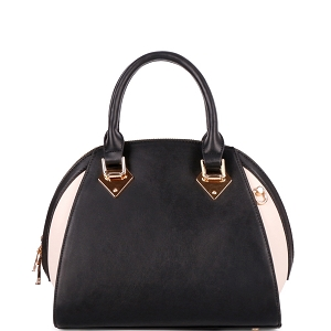 KP695 Color Block 2-Way Dome Satchel Black