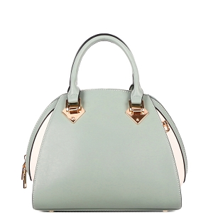 KP695 Color Block 2-Way Dome Satchel Green