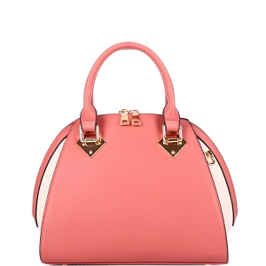 KP695 Color Block 2-Way Dome Satchel Red