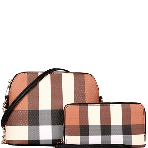 LM8236W Classy Plaid Print Dome Crossbody Wallet SET Black