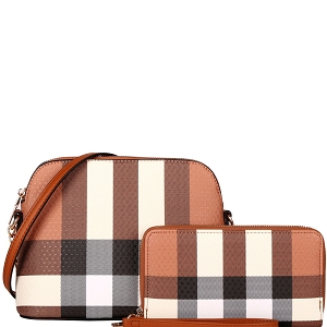 LM8236W Classy Plaid Print Dome Crossbody Wallet SET Brown