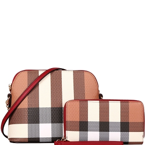 LM8236W Classy Plaid Print Dome Crossbody Wallet SET Red