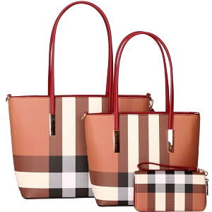 LMT8338W Tassel Accent Classy Plaid Print 3 in 1 Tote SET Red