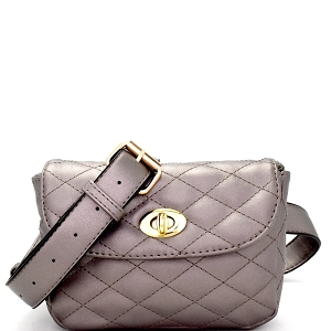 MY6655 Turn-Lock Accent Quilted Fashion Fanny Pack Pewter