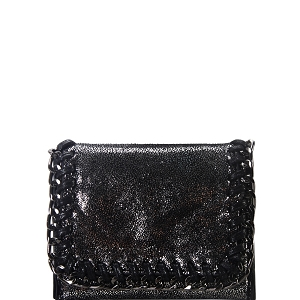 OL201 Hematite-Tone Chain Accent Metallic Card Case Wallet Charcoal
