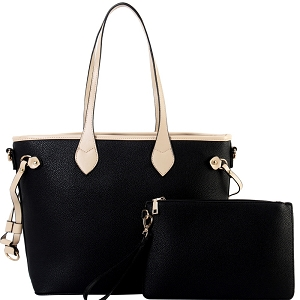 SH8009 Two-Tone Classic 2 in 1 Shopper Tote Wristlet SET Black