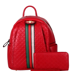 YD8081W Bee Charm Center Striped Monogram Backpack Wallet SET Red