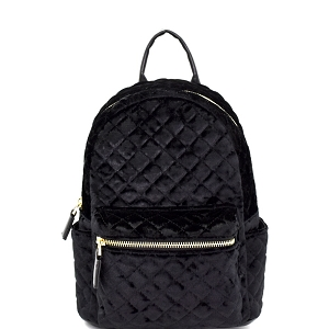 H170227-62 Dream Control Quilted Velvet Fashion Backpack Black