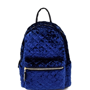 H170227-62 Dream Control Quilted Velvet Fashion Backpack Navy