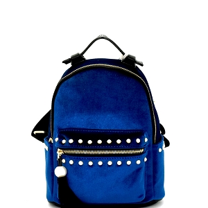 H170511-34 Dream Control Tassel Pearl Accent Velvet Backpack Royal-Blue