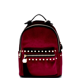 H170511-34 Dream Control Tassel Pearl Accent Velvet Backpack Wine