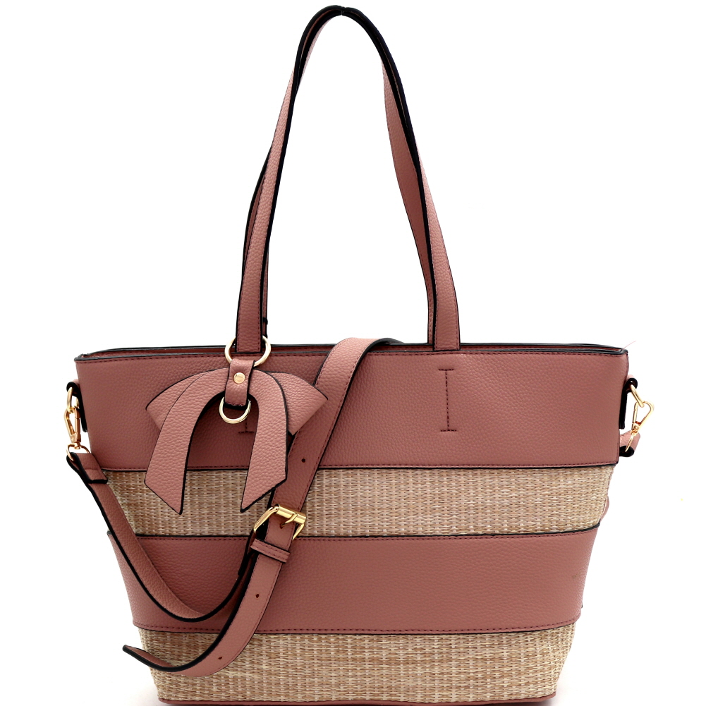 BJ4127 Woven Straw Mixed-Material Bow Accent 2-Way Tote Mauve