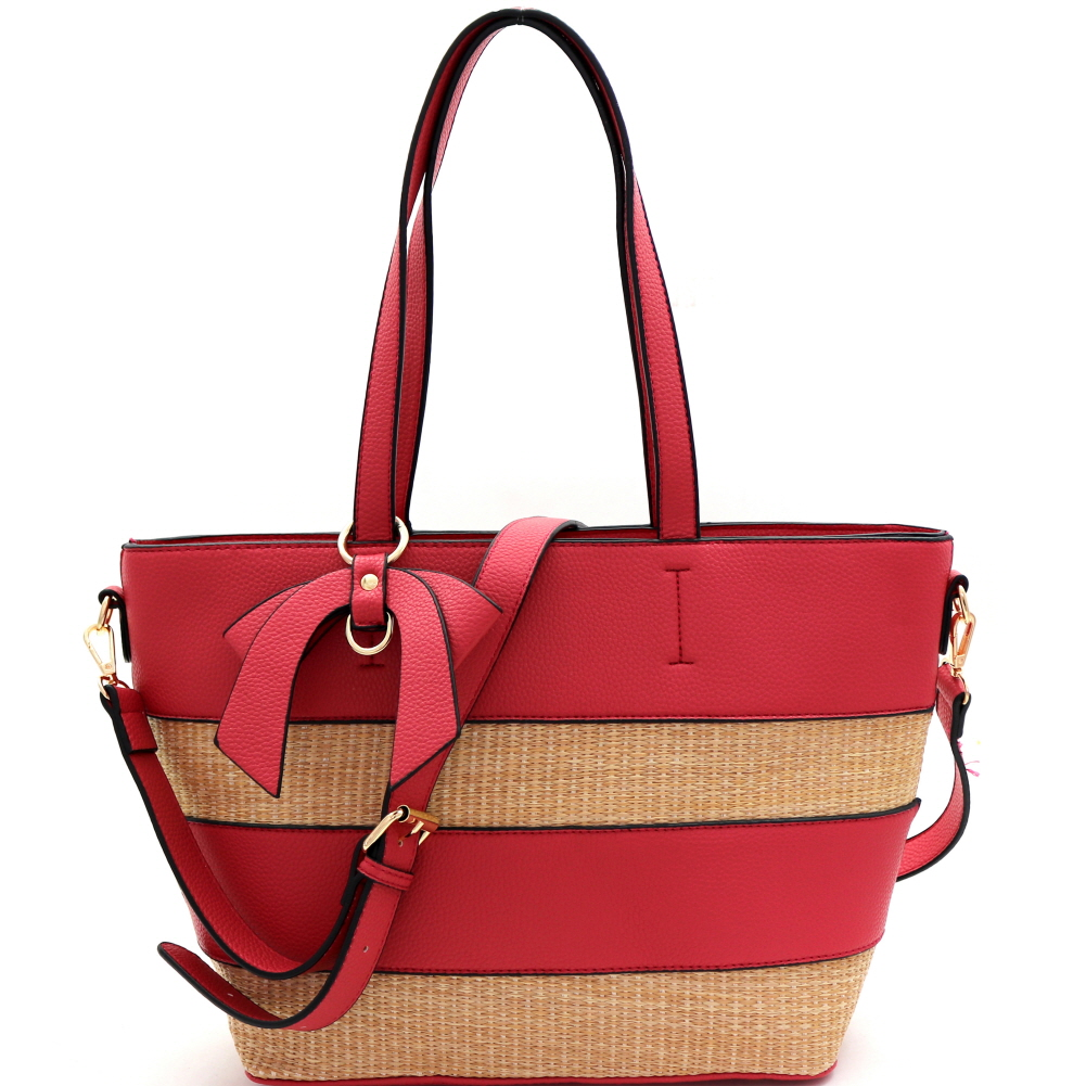 BJ4127 Woven Straw Mixed-Material Bow Accent 2-Way Tote Berry