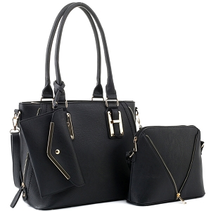 BJ5628W Classy 3 in 1 Satchel Dome Cross Bdoy Wallet Set Black