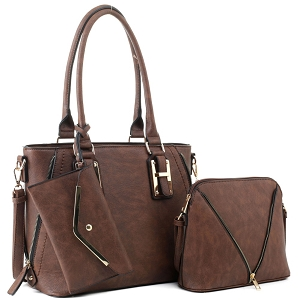 BJ5628W Classy 3 in 1 Satchel Dome Cross Bdoy Wallet Set Coffee