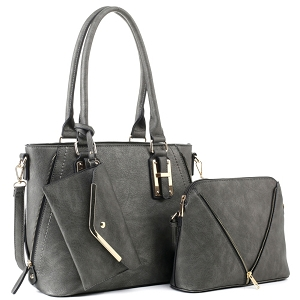 BJ5628W Classy 3 in 1 Satchel Dome Cross Bdoy Wallet Set Charcoal Gray