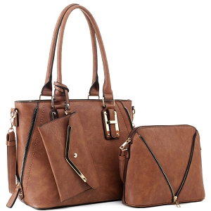 BJ5628W Classy 3 in 1 Satchel Dome Cross Bdoy Wallet Set Tan
