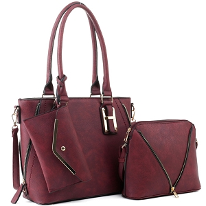 BJ5628W Classy 3 in 1 Satchel Dome Cross Bdoy Wallet Set Wine Burgundy