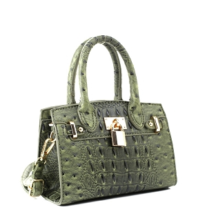 BJ6286N Padlock Accent 2-Way Small Satchel Cross Body Olive