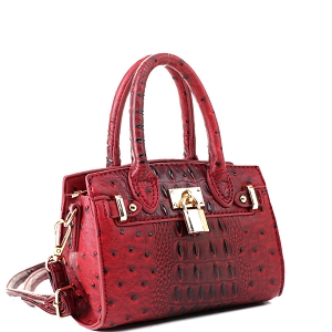 BJ6286N Padlock Accent 2-Way Small Satchel Cross Body Red