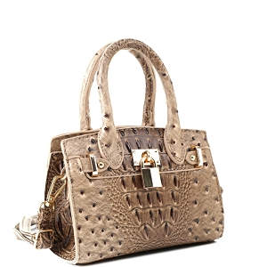 BJ6286N Padlock Accent 2-Way Small Satchel Cross Body Taupe