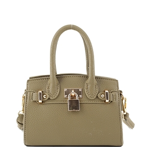 BJ6286P Padlock Accent 2-Way Small Satchel Cross Body Olive