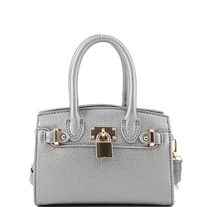 BJ6286P Padlock Accent 2-Way Small Satchel Cross Body Pewter