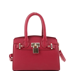 BJ6286P Padlock Accent 2-Way Small Satchel Cross Body Red