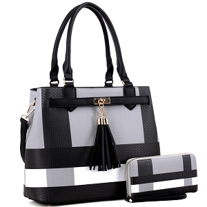 BL5051S Plaid Checker Print Tassel Accent Structured Tote Wallet SET Black/Black