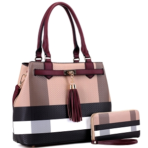 BL5051S Plaid Checker Print Tassel Accent Structured Tote Wallet SET Brown/Burgundy