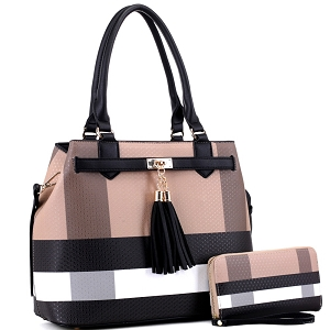 BL5051S Plaid Checker Print Tassel Accent Structured Tote Wallet SET Brown/Black
