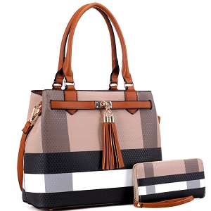 BL5051S Plaid Checker Print Tassel Accent Structured Tote Wallet SET Brown/Brown