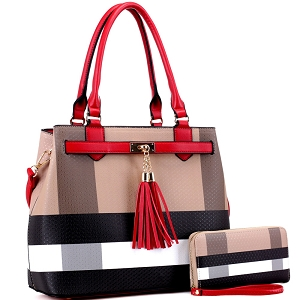 BL5051S Plaid Checker Print Tassel Accent Structured Tote Wallet SET Brown/Red