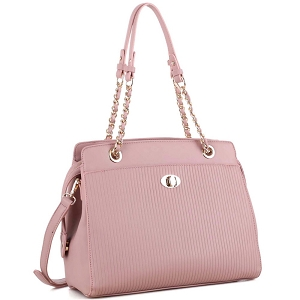 BY4141 Turn-Lock Accent Pinstripe Embossed 2-Way Chain Tote Blush