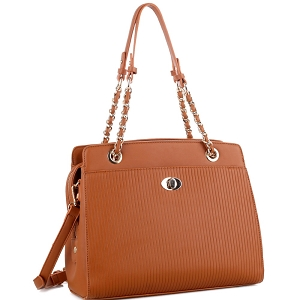 BY4141 Turn-Lock Accent Pinstripe Embossed 2-Way Chain Tote Tan
