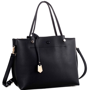 BY4150 Multi Compartment Classy 2 Way Satchel Black