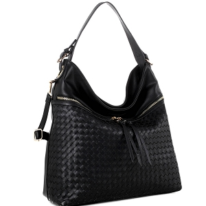 BY4230 Front Zipper Pocket Color-Block Woven 2-Way Hobo Black/Black