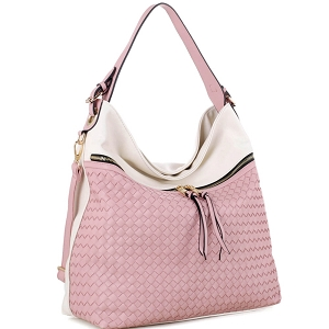 BY4230 Front Zipper Pocket Color-Block Woven 2-Way Hobo Off-White/Mauve